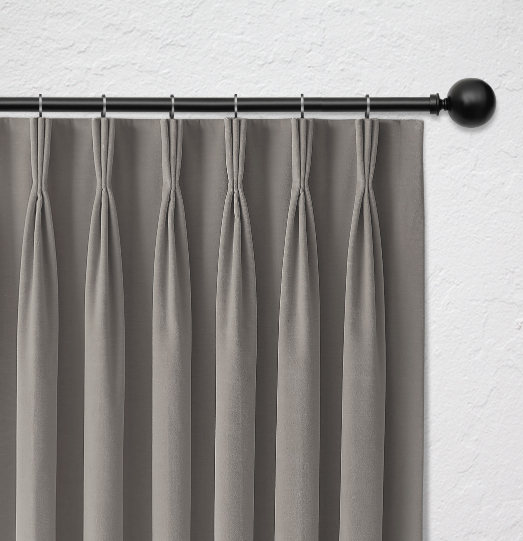 Curtain heading with luxury finished fold