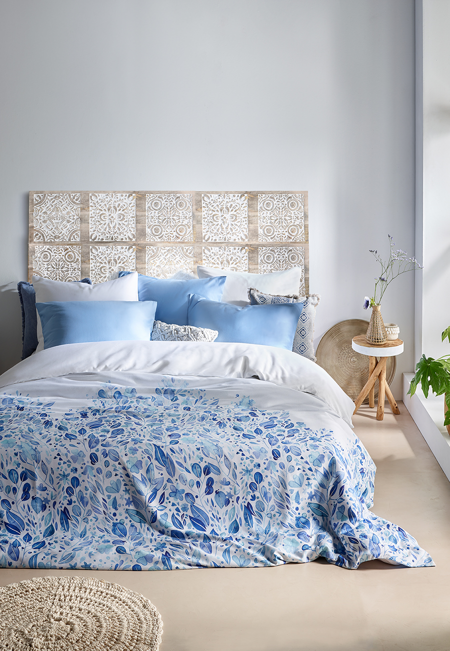 Printed bed linen in satin cotton